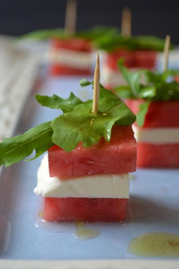 Spieße mit Wassermelone und Feta, Häppchen, Buffet, Rezept, Carl Tode Göttingen